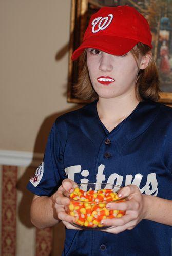 "Sophia as ""Rosalie, the Baseball Playing Vampire"""