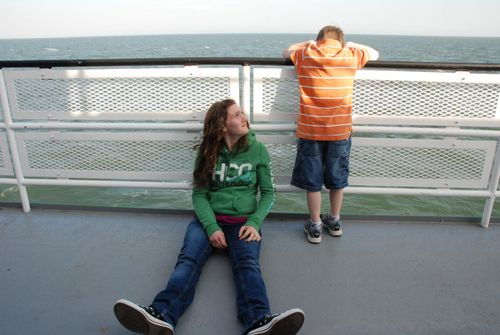 Tori and Josiah on the ferry